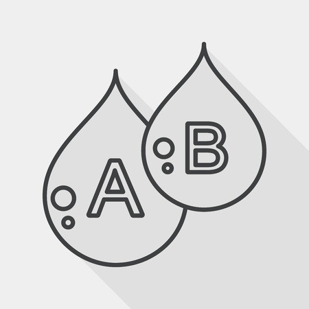 blood line: blood flat icon with long shadow, line icon Illustration