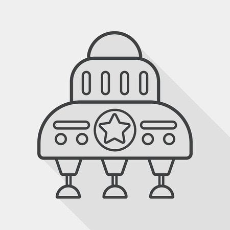 invaders: Space flat icon with long shadow, line icon Illustration