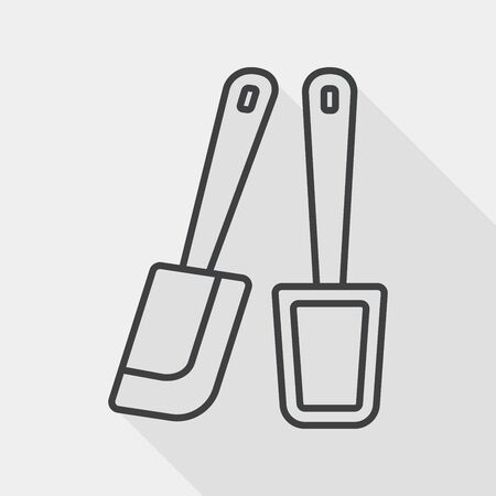 eggbeater: kitchenware beater flat icon with long shadow, line icon Illustration