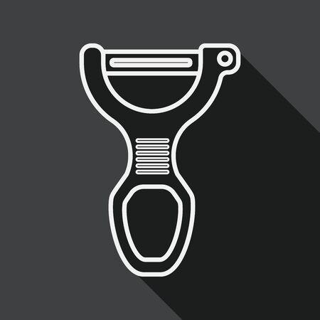 peeler: kitchenware peeler flat icon with long shadow, line icon Illustration