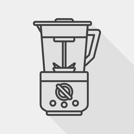 liquidizer: kitchenware electric juicer flat icon with long shadow, line icon