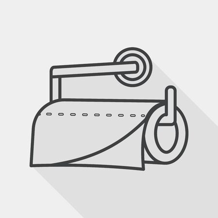 sanitary towel: kitchenware paper flat icon with long shadow, line icon
