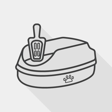 Pet Katzentoilette Flach Symbol mit langen Schatten