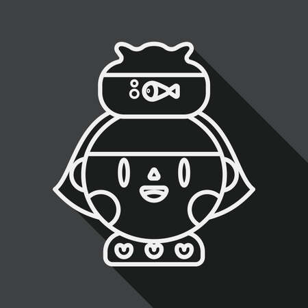 fishbowl: Pet fish and girl friendship flat icon with long shadow, line icon Illustration