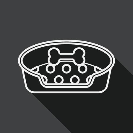 Icona piana di letto dell'animale domestico con ombra lunga, icona linea