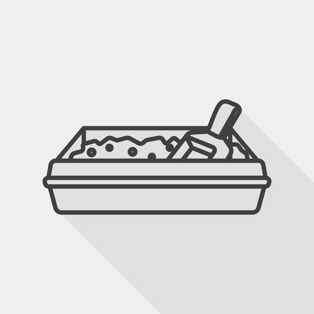 filler: Icono plana mascotas caja de arena del gato con larga sombra, eps10, icono l�nea
