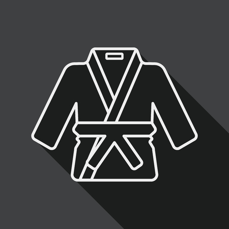 kata: Karate suit flat icon with long shadow, line icon Illustration