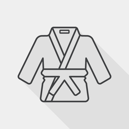 karate practice: Karate suit flat icon with long shadow, line icon Illustration