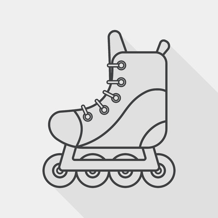 roller skates flat icon with long shadow, line icon