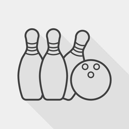 wrapped corner: bowling flat icon with long shadow, line icon
