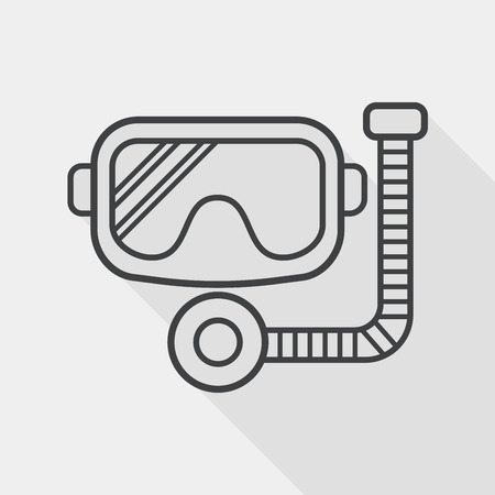 diving pool: Mask and snorkel flat icon with long shadow