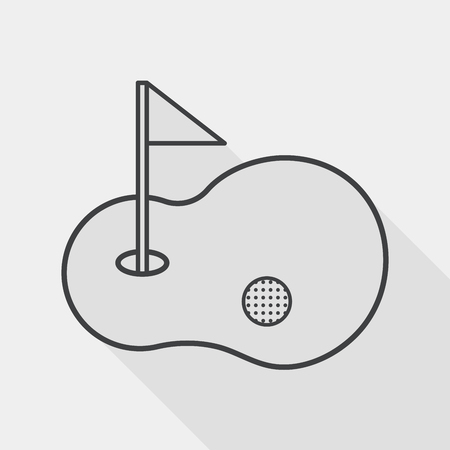 play golf: golf flat icon with long shadow, line icon