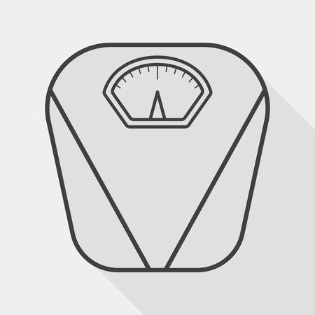 obesidad: Icono plana Escala del peso con larga sombra, icono línea
