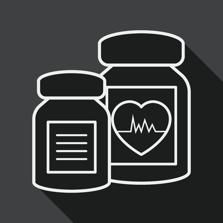 pressure bottle: supplements drug flat icon with long shadow, line icon Illustration