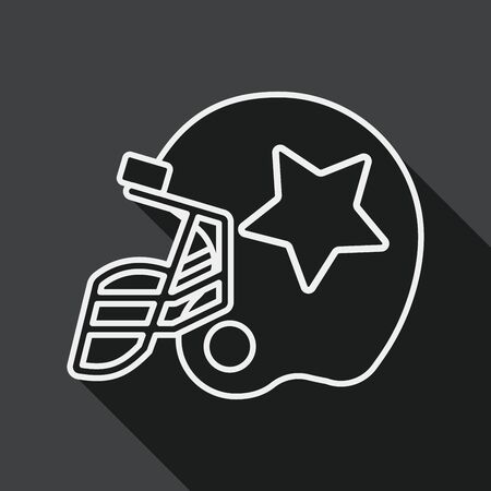 american football helmet: american football helmet flat icon with long shadow, line icon