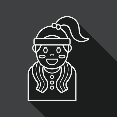 sporty: sporty girl flat icon with long shadow, line icon
