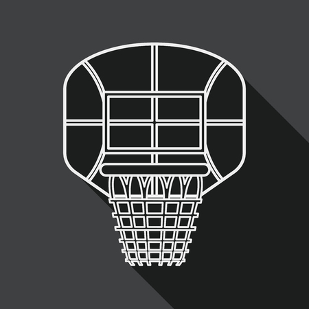 backboard: basketball backboard flat icon with long shadow, line icon