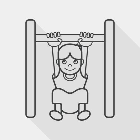 rekstok: Boy opknoping horizontale balk plat icoon met lange schaduw, lijn pictogram