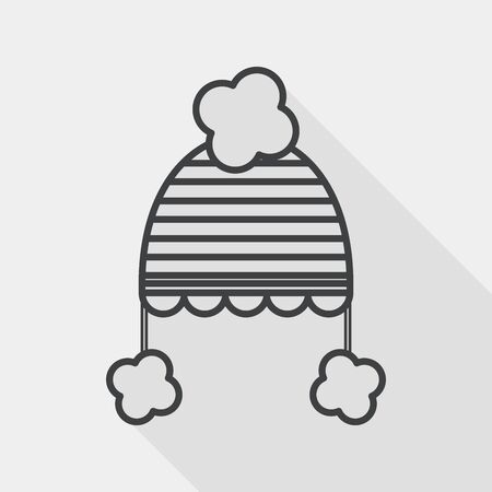 pink cap: baby hat flat icon with long shadow, line icon Illustration