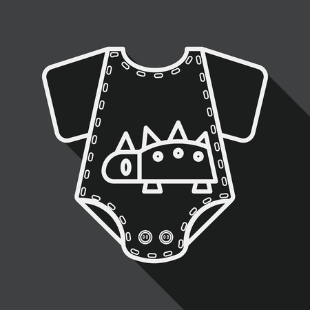 baby romper: baby romper flat icon with long shadow