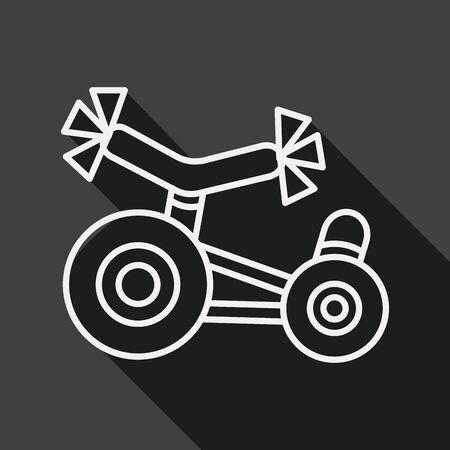 driewieler: Kinderen Driewieler flat icoon met lange schaduw, lijn pictogram