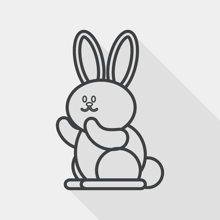 coney: Rabbit flat icon with long shadow