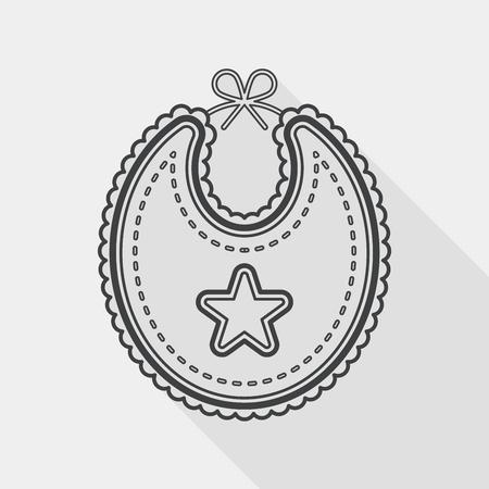 babero: icono plana babero bebé con larga sombra