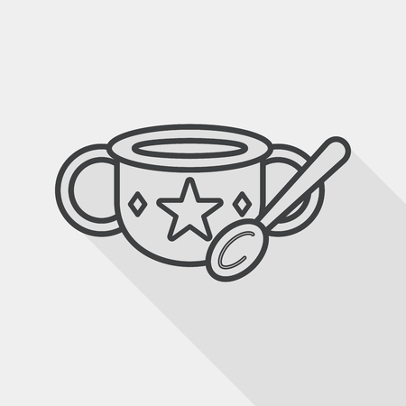 baby food bowl flat icon with long shadow, line icon
