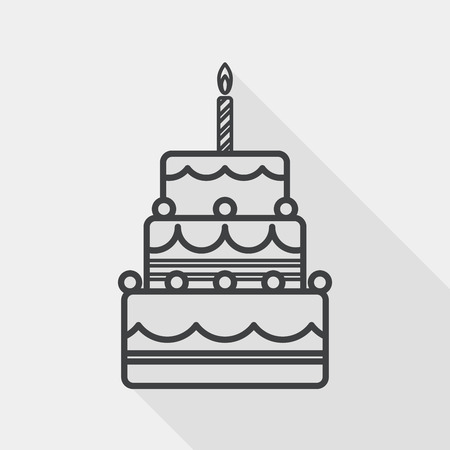 birthday cards: birthday cake flat icon with long shadow, line icon