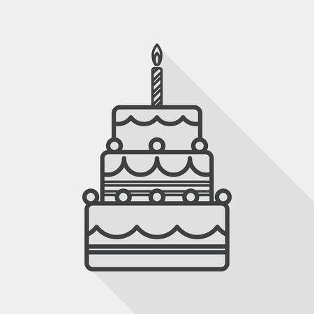 Geburtstagskuchen flach Symbol mit langen Schatten, line icon Vektorgrafik