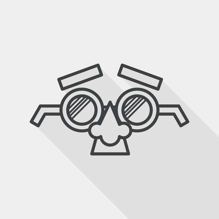 fake nose and glasses: party Mask flat icon with long shadow, line icon