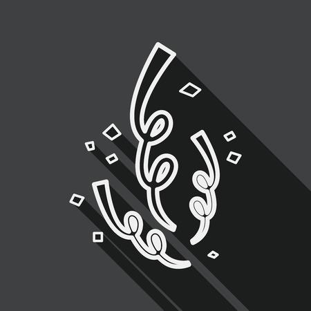 parade confetti: confetti flat icon with long shadow, line icon