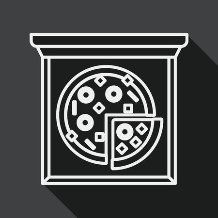 edible mushroom: Pizza flat icon with long shadow, line icon