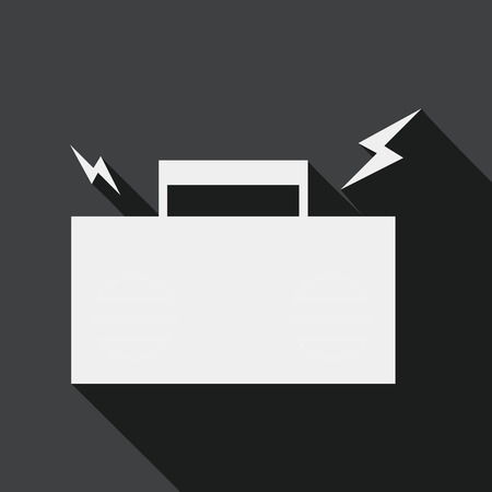 ghetto blaster audio flat icon with long shadow, line icon Illustration