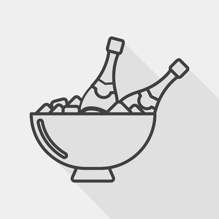 refrigerated: Ice bottle flat icon with long shadow, line icon