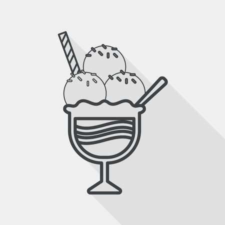 caramel sauce: ice cream flat icon with long shadow, line icon