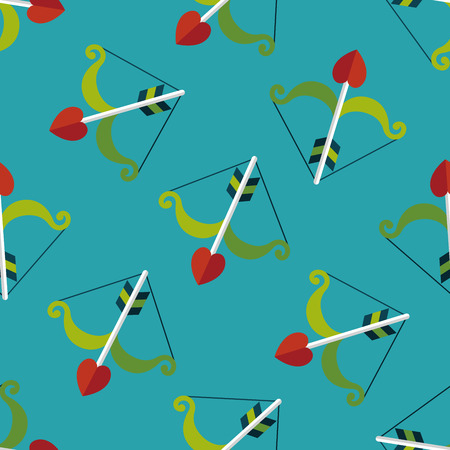 cupido: valentines day Cupid bow and arrow flat icon,e seamless pattern background