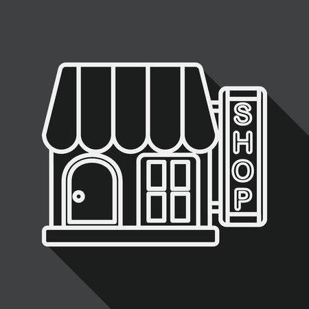 fashion building: Building shop store flat icon with long shadow, line icon Illustration
