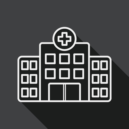 hospital stretcher: building hospital flat icon with long shadow, line icon