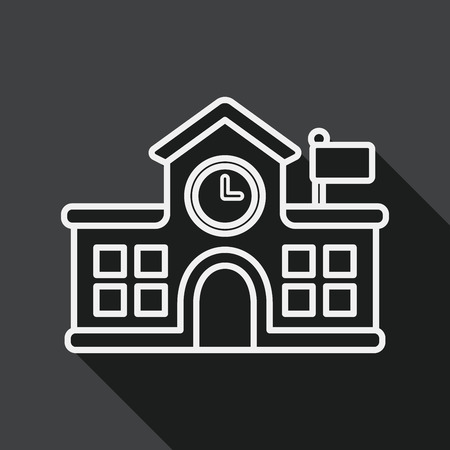 school building: Building school flat icon with long shadow, line icon