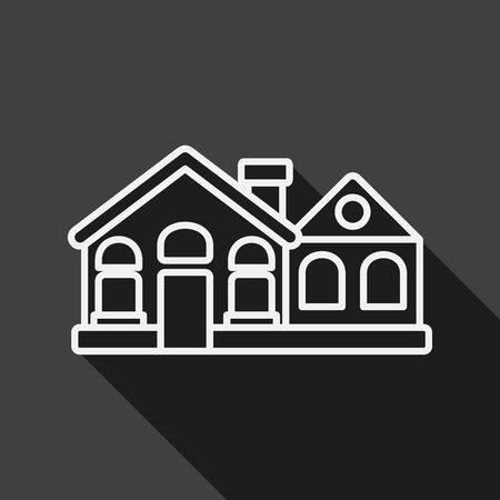 Building flat icon with long shadow, line icon Vector