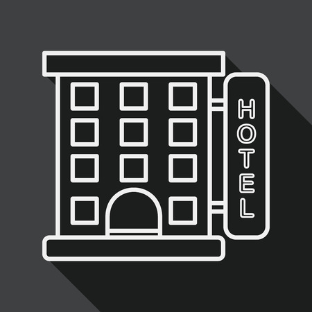 hotel building: Building hotel flat icon with long shadow, line icon Illustration