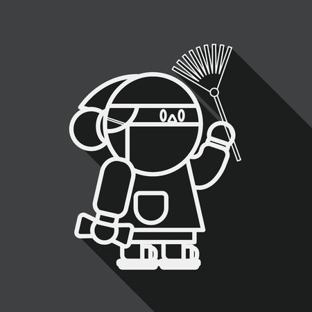 CHIN: Chinese New Year flat icon with long shadow, When the Chin, line icon