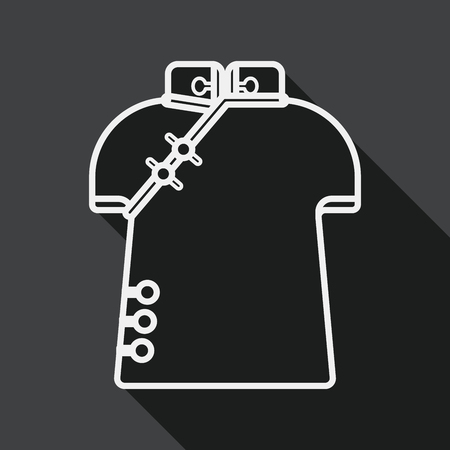 chipao: Chinese Cheongsam flat icon with long shadow, line icon