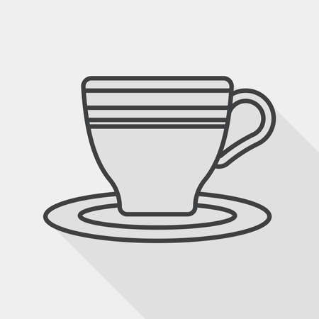 lliquid: coffee cup flat icon with long shadow, line icon Illustration