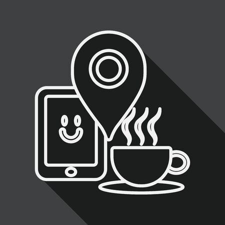 coffeecup: coffee flat icon with long shadow Illustration
