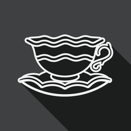 coffeecup: coffee cup flat icon with long shadow, line icon Illustration
