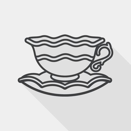 coffee cup flat icon with long shadow, line icon Illustration