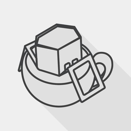 coffee bag flat icon with long shadow, line icon Vektorové ilustrace