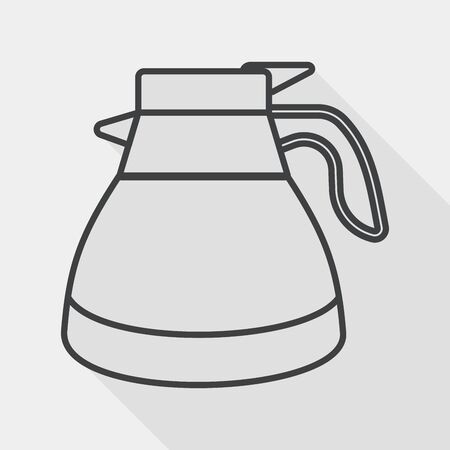 coffeepot: coffee kettle flat icon with long shadow, line icon